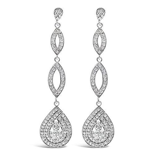 Bitter Sweet Bridal Silver Cubic Zirconia Tear Drop Earrings 130407