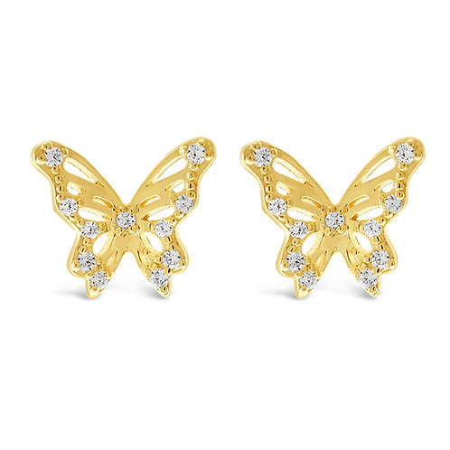Bitter Sweet Gold Plated Sterling Silver Cubic Zirconia Butterfly Earrings 143359