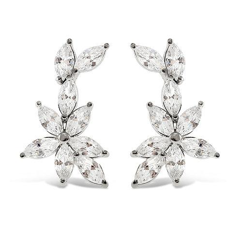 Sterling Silver Cubic Zirconia Flower Crawler Earrings 141042