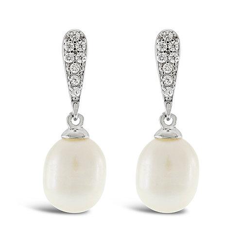 Bitter Sweet Sterling Silver Cubic Zirconia Pearl Earrings 143290