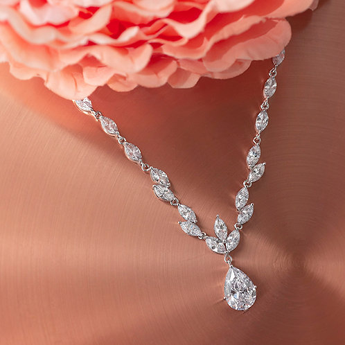 Bridal Silver Cubic Zirconia Necklace & Earrings Set 137442