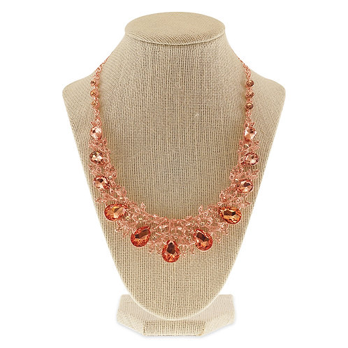 Rose Gold Crystal Necklace & Earrings Set