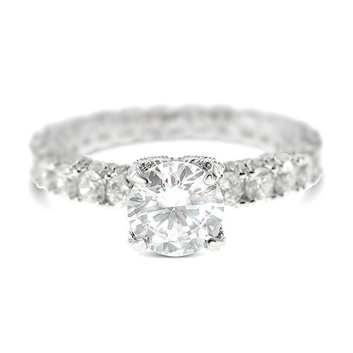 Bitter Sweet Sterling Silver Cubic Zirconia Pave Eternity Ring 143417