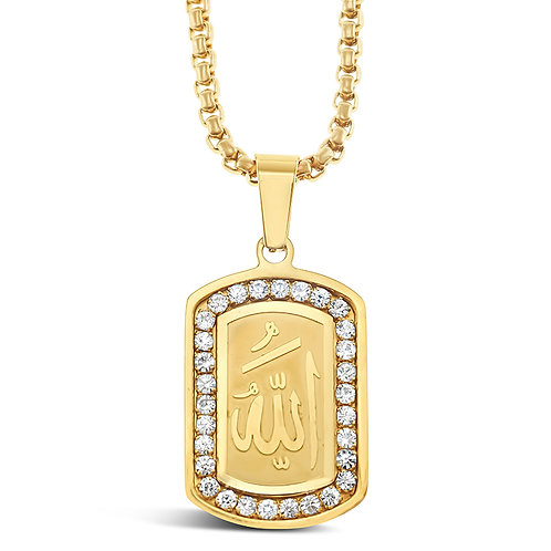 Bitter Sweet Stainless Steel Gold Allah Necklace 142823