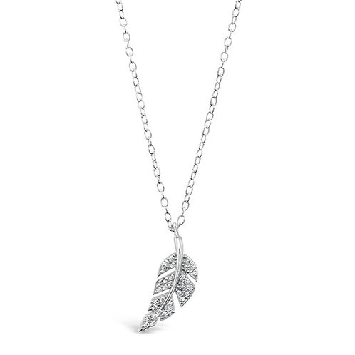 Bitter Sweet Sterling Silver Cubic Zirconia Leaf Necklace 141800