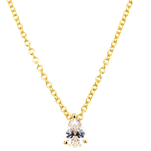 Bitter Sweet Gold Plated Sterling Silver Teardrop Cubic Zirconia Necklace 143485