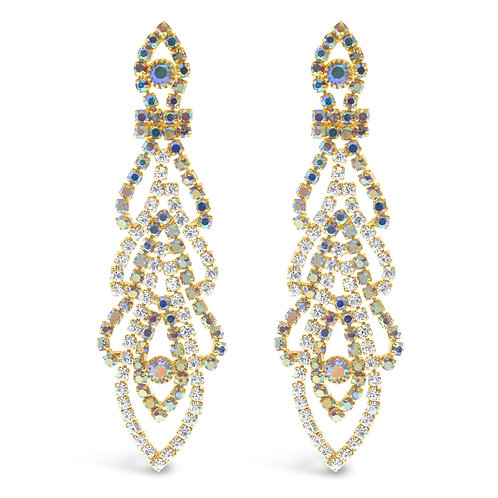 Fashion Rhinestones Gold Chandelier Earrings 142172
