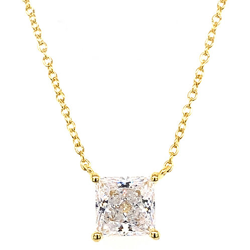 Bitter Sweet Gold Plated Sterling Silver Cubic Zirconia Princess Cut Necklace 143479