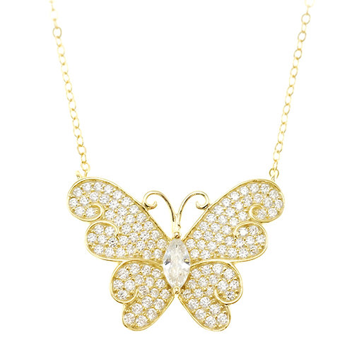 Bitter Sweet Gold Plated Sterling Silver Cubic Zirconia Butterfly Necklace 143003