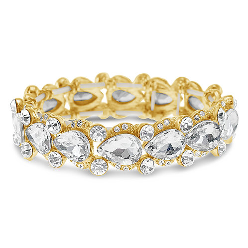 Gold Crystal Tear Drop Bracelet