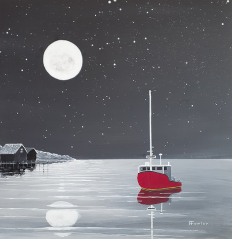 The Red Boat, acrylic on board, 18 x 18.