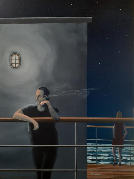 Night Crossing, acrylic on board, 30 x 4