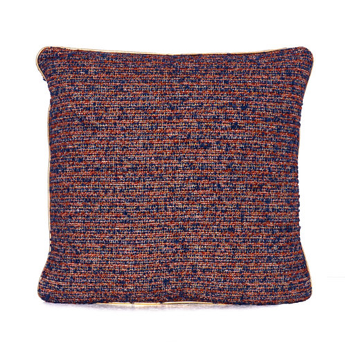Pierre Frey Wool Boucle Pillow With Gold Leather Welt
