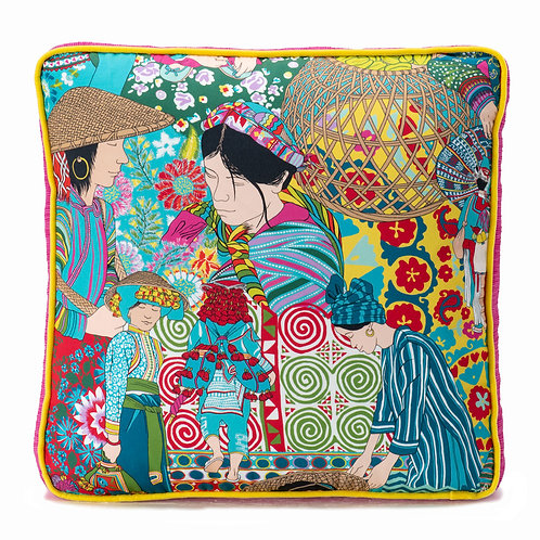 Manuel Canovas Box Pillow with Swiss Velvet Welt
