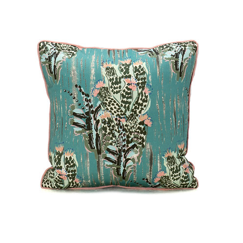 Camengo Pitaya Pillow With French Grosgrain Peony Contrast Welt