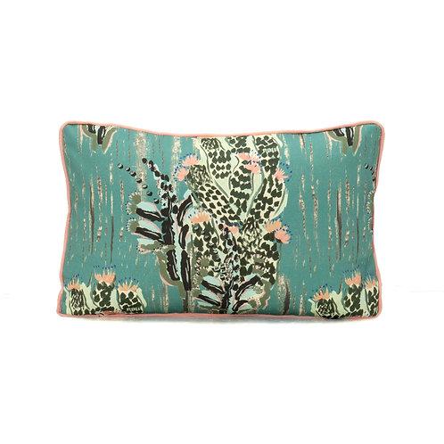 Camengo Pitaya Lumbar Pillow With French Grosgrain Peony Contrast Welt