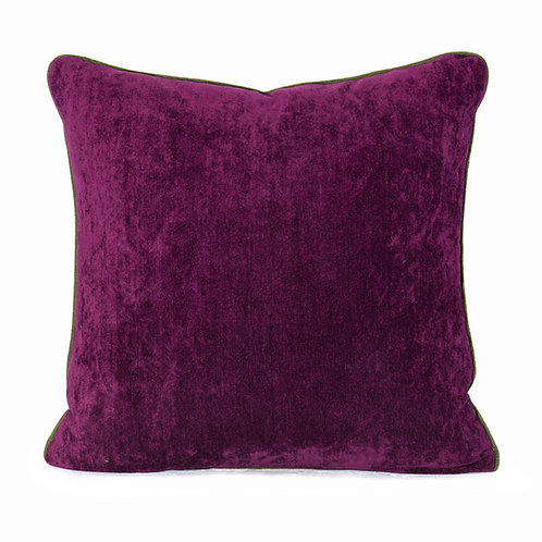 Manuel Canovas Bellevue Pivoine Chenille Pillow With Moss Swiss Velvet Welt