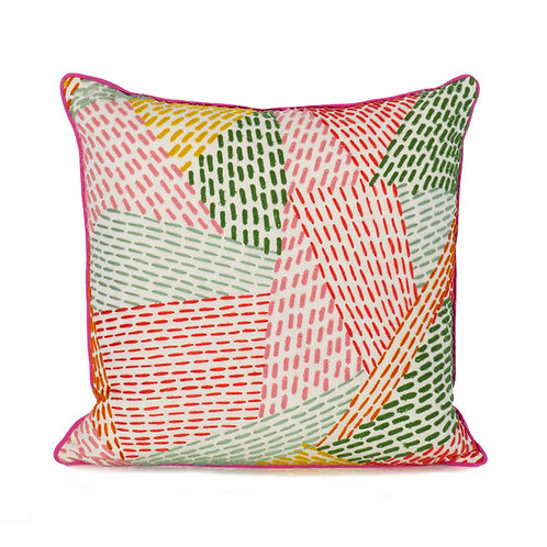 Pierre Frey Embroidered Pillow With French Grosgrain Flamingo Pink Contrast Welt