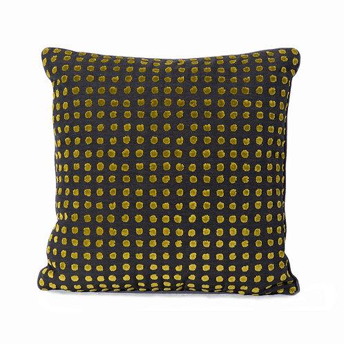 Sanderson Polka Dot Pillow With Graphite French Grosgrain Welt