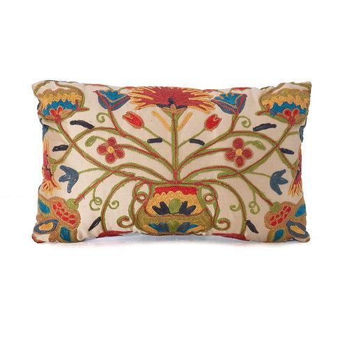 Crewel Embroidered Silk Lumbar Pillow