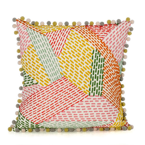 Pierre Frey Hand Embroidered Pillow with Meadow Cirque Pom Pom Fringe
