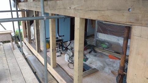 Oak framework, gable end restoration. Listed period house, Moreton nr.Thame, Oxon