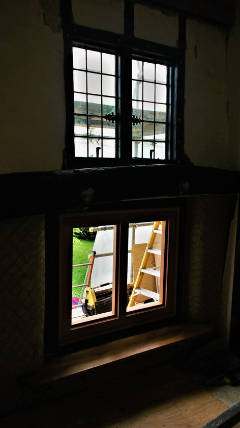 interior view of restored(upper) and new like for like casement windows (lower). Listed period house, Moreton,nr.Thame, Oxon.