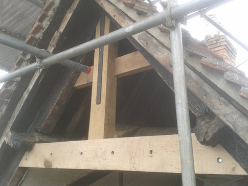 Collar frame to gable end of 16th C almshouse. Thame, Oxon.