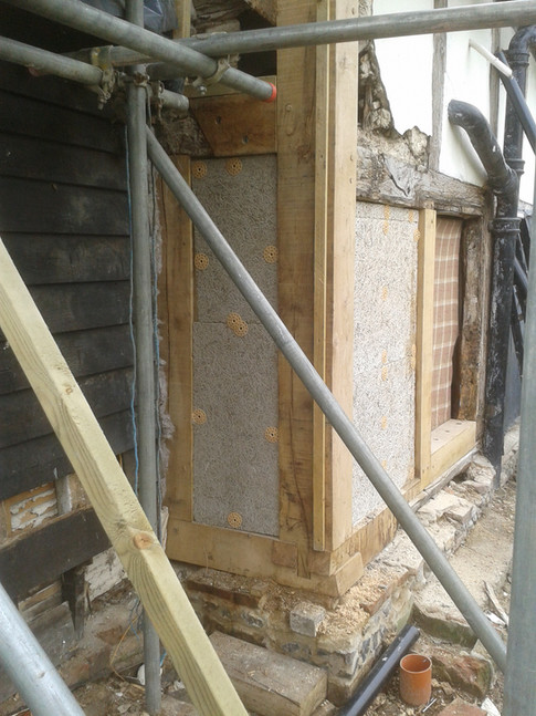 Major frame restoration; new corner post and bottom plate. Listed period house, Cholsey, Oxon.
