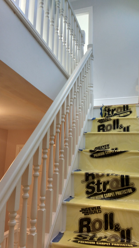 Stair handrailing. Calvert Green, Bucks.