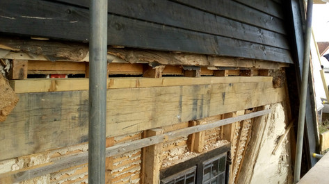 New tie beam on gable end of period listed house. Moreton, nr. Thame, Oxon.