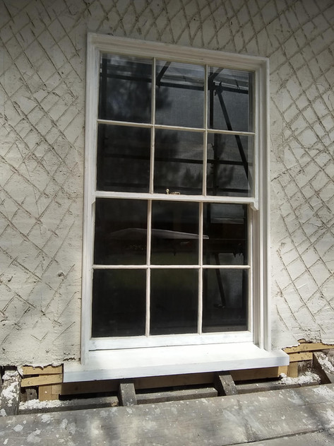 Sash window restoration, 17th century timber frame town house, Thame