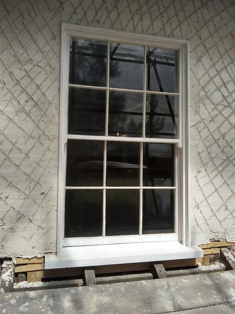 Sash window restoration, 17th century timber frame town house, Thame