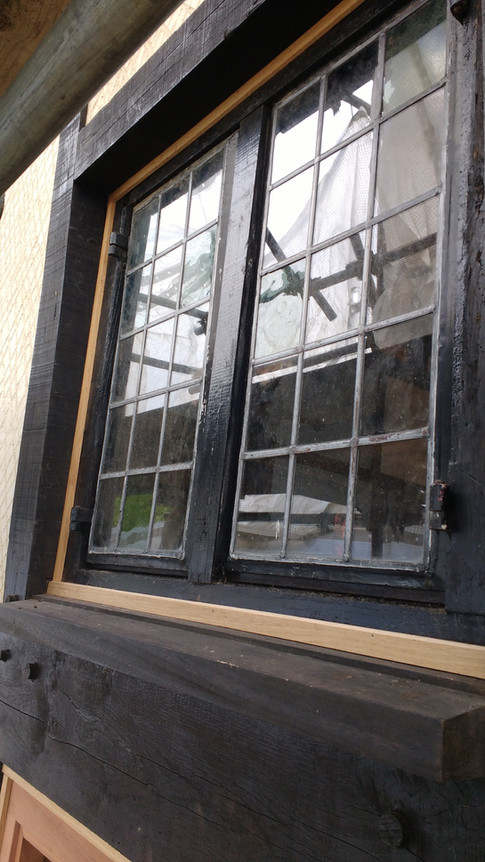 Restored casement window, part of gable end renovation. Listed period house,Moreton, nr.Thame,Oxon.
