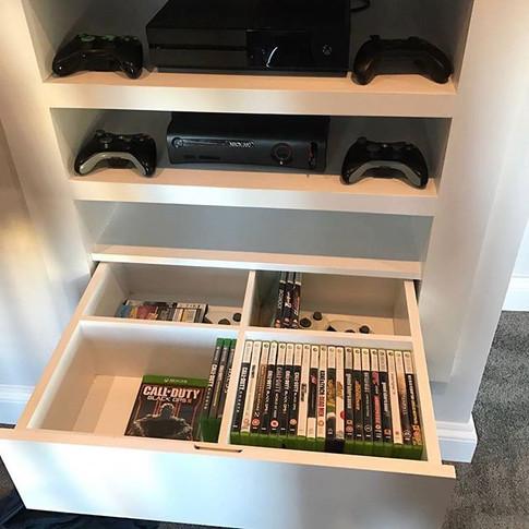 TV & Games storage with    soft close drawer. Marston, Ox