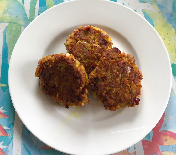 Leftover Easter Ham Patties, Apple And Red Onion Join The Party!