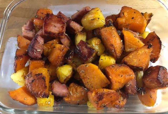 Breakfast, Lunch, Brunch, Dinner Sweet Potatoes And Ham!! YUM!!