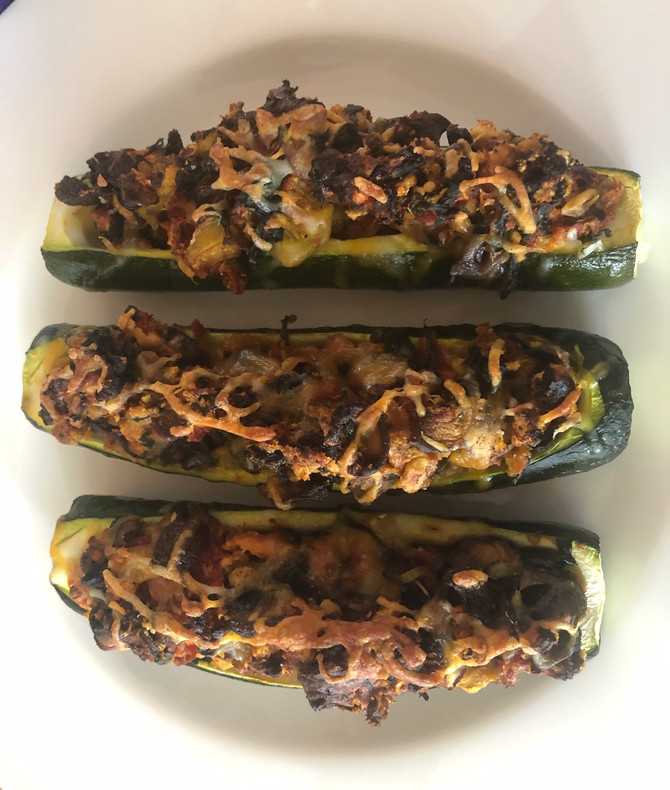 Veggie Stuffed Zucchini, Small In Size, Large IN Flavor!! Hurry UP Spring!