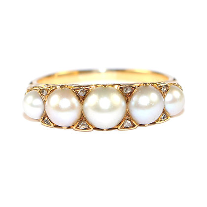 Edwardian Pearl 5 Stone Ring