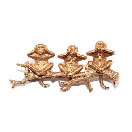Antique Gold Monkey Brooch