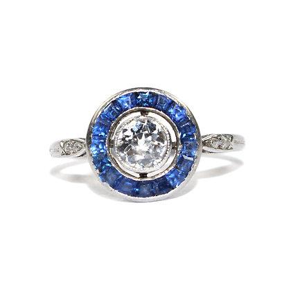 Art Deco Sapphire Diamond Target Ring