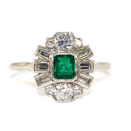 Art Deco Emerald & Diamond Cluster Ring
