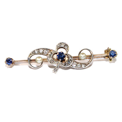 Victorian Sapphire & Diamond Shamrock Brooch