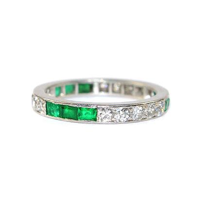 Art Deco Emerald and diamond eternity ring