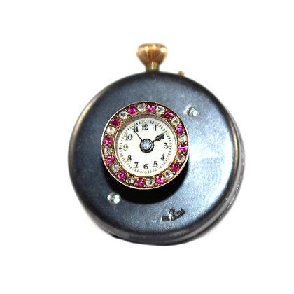 Edwardian Ruby and Diamond set Lapel watch c.1905