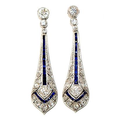 Art Deco Sapphire and Diamond Earrings