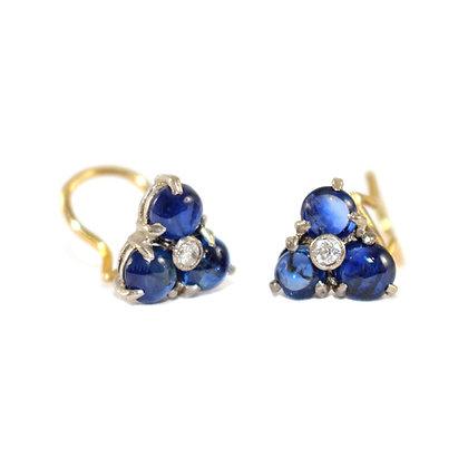 Art Deco Cabochon Sapphire and Diamond clip earrings c.1930