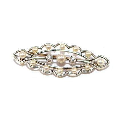 Edwardian Pearl & Diamond Brooch c.1910