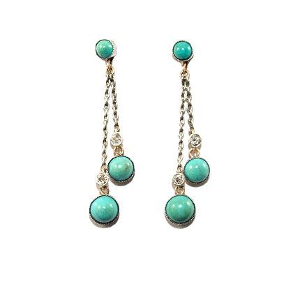 Edwardian Turquoise & Diamond Earrings