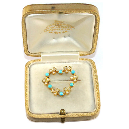 Victorian Turquoise Heart Brooch